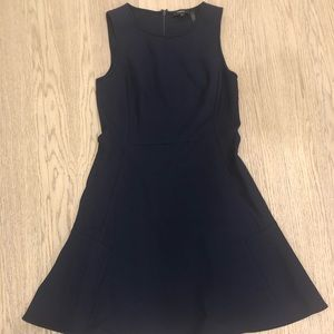 Theory Navy Suiting Flare Dress Sz 6